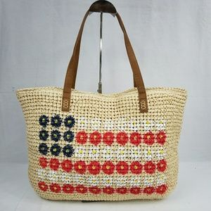Style & Co Straw Beach Tote Flag
